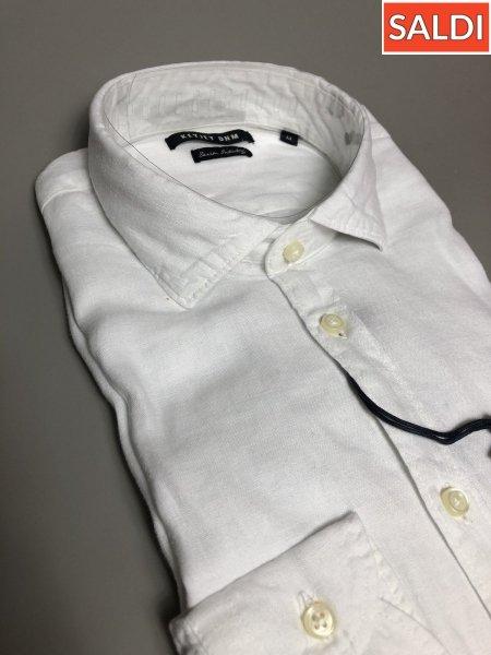 Biała Koszula Lniana - Długie rękawy - Key Jey  - Koszule - Gogolfun.it