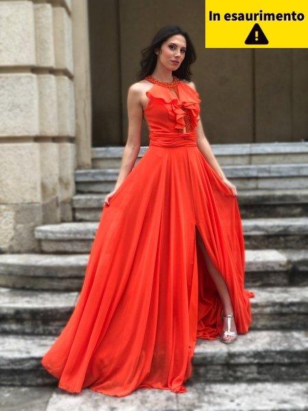 Vestito da cerimonia - Arancione - Con spacco - Gogolfun.it