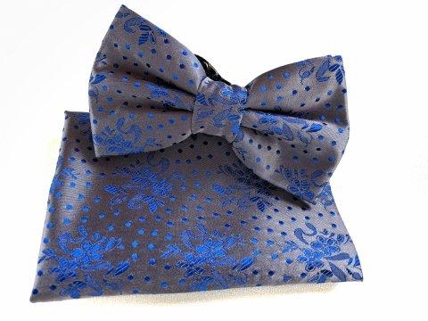 Papillon - Con Pochette - Base Grigia e Fantasia Blu