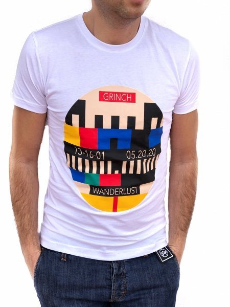 T shirt bianca - Stampa Tv - Slim - Gogolfun.it
