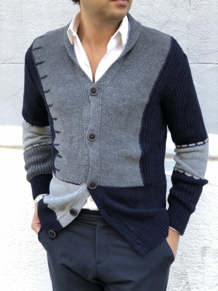 Cardigan uomo, abbottonato - Maglioni uomo Colore grigio e blu - Gogolfun.it