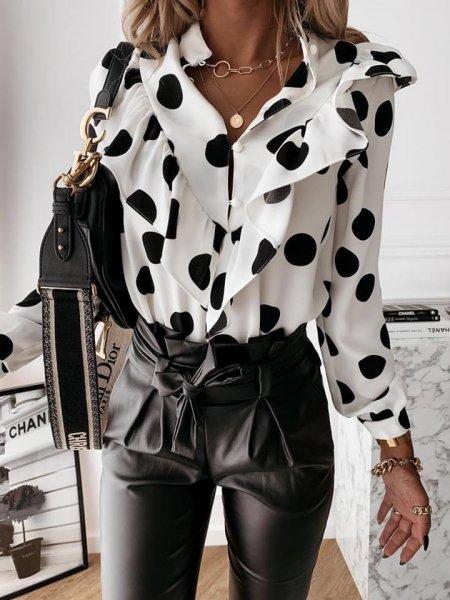 Camicia donna bianca a pois neri - Camicetta donna - Casacca - Abbigliamento donna gogolfun.it