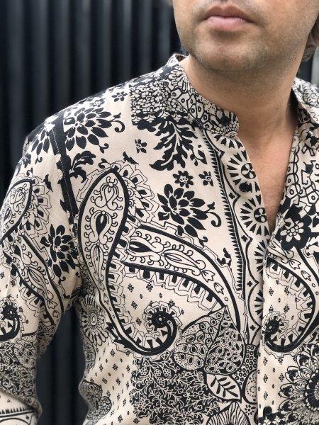 Camicia uomo fantasia, bandana beige nero - Manica lunga