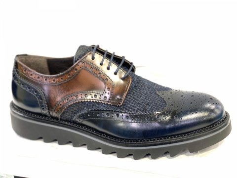 Scarpe uomo, francesine - Vera Pelle - Made in Italy - Base blu e marrone - Gogolfun.it