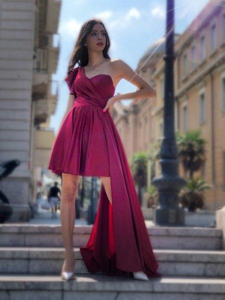 Vestito rosso babe - Sfasato in raso