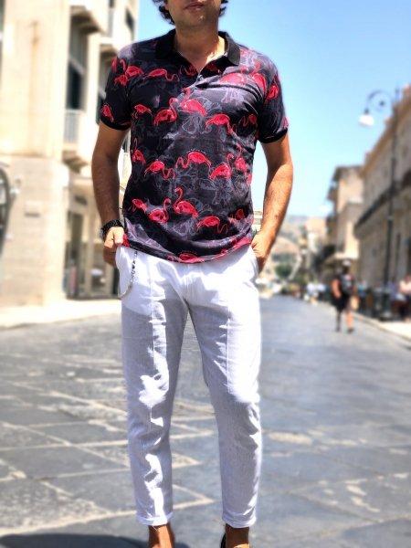 Polo uomo, fantasia - Polo con Fenicotteri - Abbigliamento uomo - Gogolfun.it