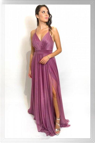 Vestito lungo - Rosa cipria - Tessuto brillantinato - Star rose