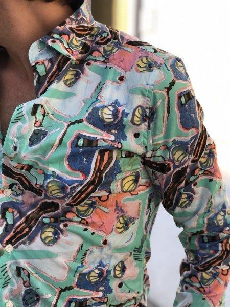 Camicia uomo particolare, verde acqua - A fantasia - Gogolfun.it