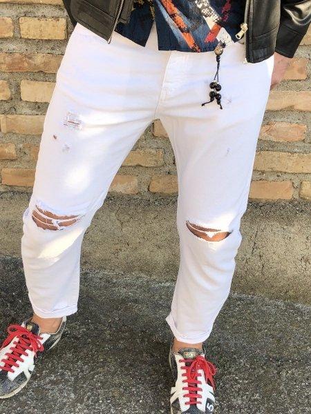 Jeans uomo - Strappati - Jeans bianchi - Gogolfun.it