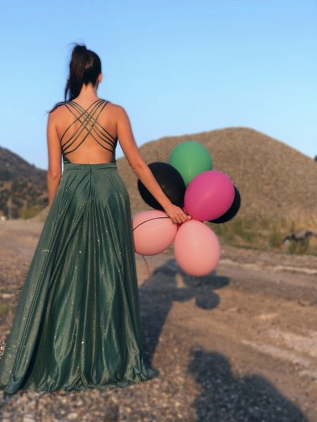Sukienka  elegancka zielona - Sukienki na wesele, studniówke - Gogolfun.it