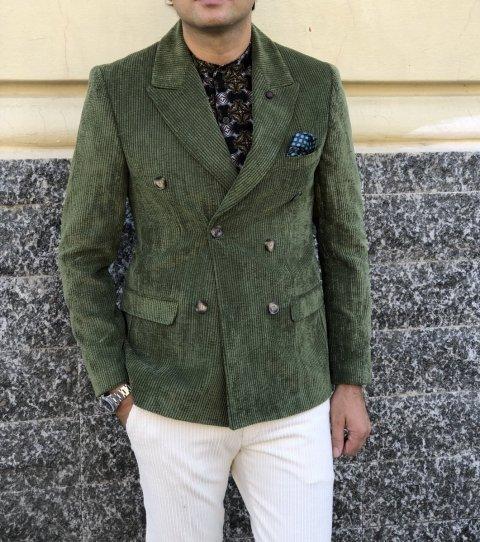 Giacca doppiopetto, verde - Gogolfun.it