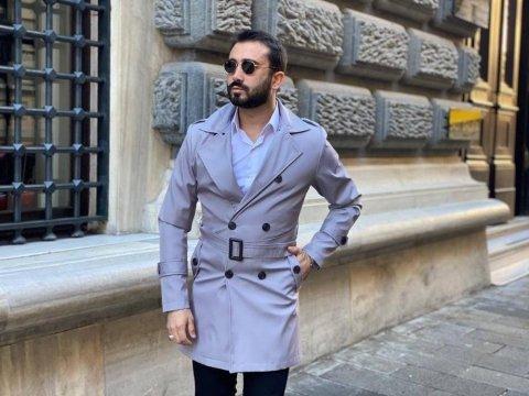 Płaszcz męski, siwy - dwurzędowy