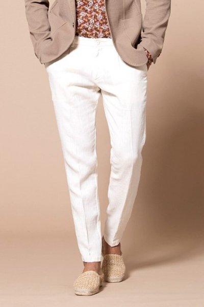 Pantaloni  uomo lino bianchi, slim - Chino puro lino - Pantaloni uomo gogolfun.it