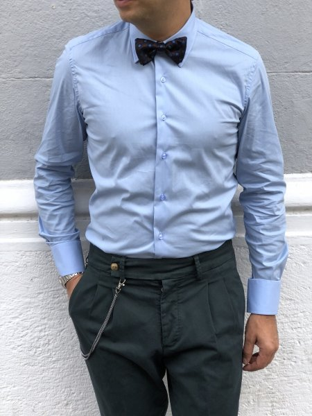 Koszula męska, niebieska - długi rękaw - Made in Italy - Sklep online - Gogolfun.pl