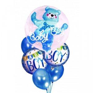 Balony na urodziny babyshower chłopca 6szt niebieskie