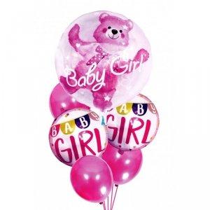 Balony na urodziny babyshower dziewczynki 6szt różowe