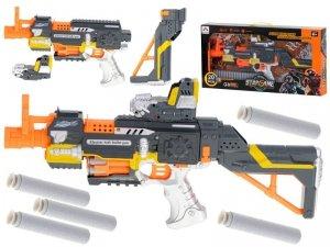 Karabin na piankowe strzałki bębenkowy + 20 strzałek szaro-pomarańczowy