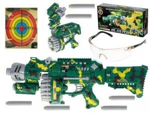 Karabin na piankowe strzałki bębenkowy + okulary + tarcza + 40 strzałek zielony