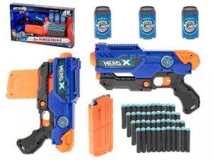 Pistolet na piankowe strzałki maszynowy + magazynek + 3 cele + 48 strzałek