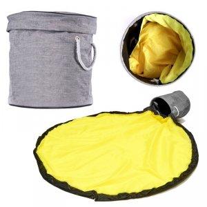 Kosz na zabawki z matą do zabawy 2w1 szaro-żółty