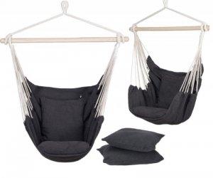Hamak brazylijski fotel krzesło z poduszkami czarny