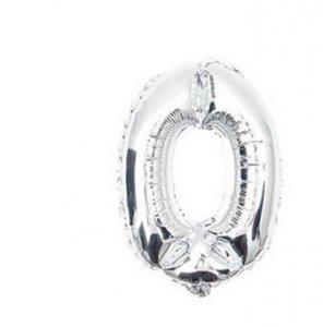 Balon urodzinowy na hel cyfry 0 76cm srebrny
