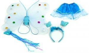 Kostium wróżki skrzydła+różdżka+opaska niebieski
