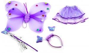 Kostium wróżki skrzydła+różdżka+opaska fioletowy