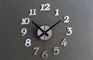 Zegar Ścienny srebrny 12 godzin