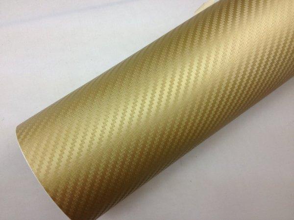 Folia odcinek carbon 3D złota 1,27x0,1m