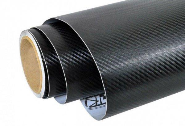 Folia odcinek carbon 3D czarna 1,52x0,1m