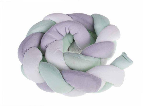 Ochraniacz otulacz do łóżeczka warkocz zielony/ szary/biały  7x100cm