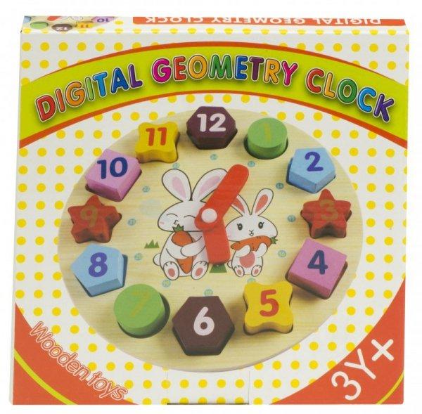 Sorter drewniany zegar edukacyjny 18cm + klocki