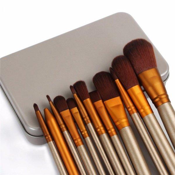 Pędzle do makijażu zestaw 12 sztuk w złotym etui