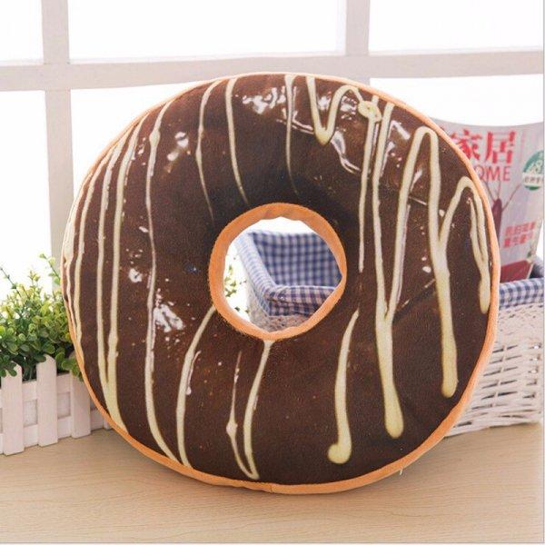 Poduszka dekoracyjna DONUT czekoladowy z lukrem