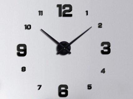 Zegar Ścienny czarny 4 duże cyfry
