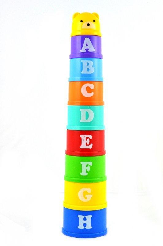 Klocki edukacyjne wieża piramida kubeczki cyfry i litery
