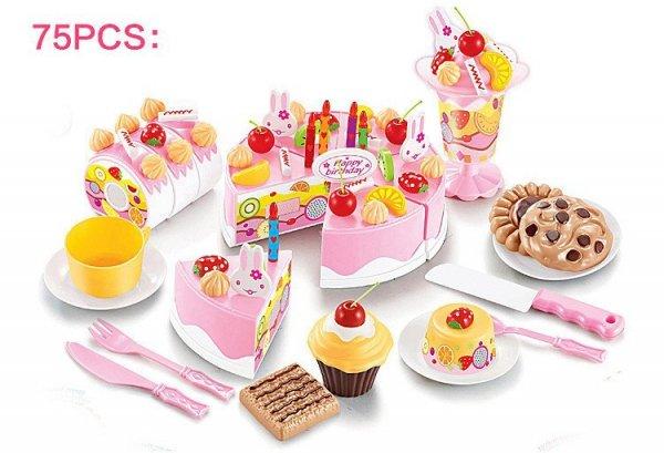 Tort Urodzinowy do Krojenia Kuchnia 75 el. niebies