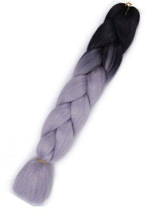 Włosy syntetyczne tęczowe ombre czarno-szare