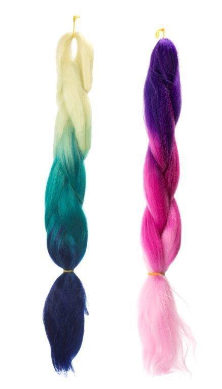 Włosy syntetyczne tęczowe ombre czarny-róż-granat