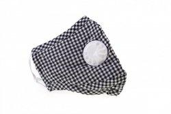 Maska antysmogowa bawełniana dla dorosłych kratka + dwa filtry PM 2.5