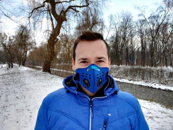 Maska antysmogowa do biegania DUO niebieska