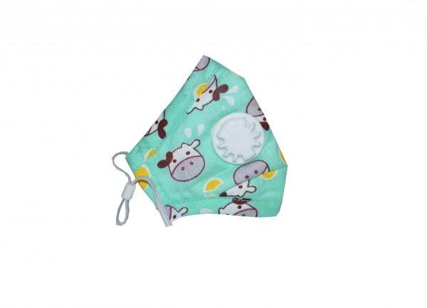 Maska antysmogowa dziecięca 'zielona krówka' 0-3 plus dwa filtry PM 2.5