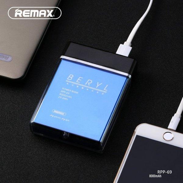 Powerbank perfumy Remax niebieskie 8000 mAh BERYL