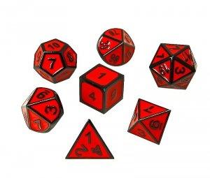 Komplet kości REBEL RPG - Metal - Tłoczona obsydianowa czerwień