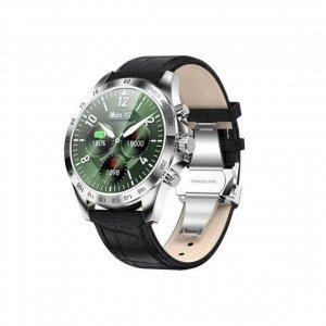 Smartwatch Garett Men Style srebrno-czarny, skórzany