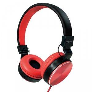 Słuchawki stereo LogiLink HS0049RD składane, czerwone