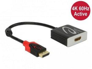 Kabel adapter Delock DisplayPort 1.4 - HDMI M/F 4K 60Hz 0,2m aktywny HDR czarny