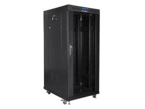 """Szafa instalacyjna stojąca 19"""" 27U 600x800 czarna drzwi szklane LCD Lanberg (flat pack)"""