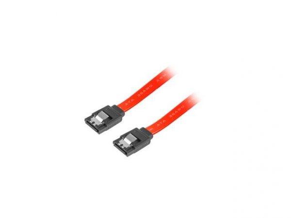Kabel SATA Lanberg DATA II (3Gb/s) F/F 0,5m metalowe zatrzaski czerwony